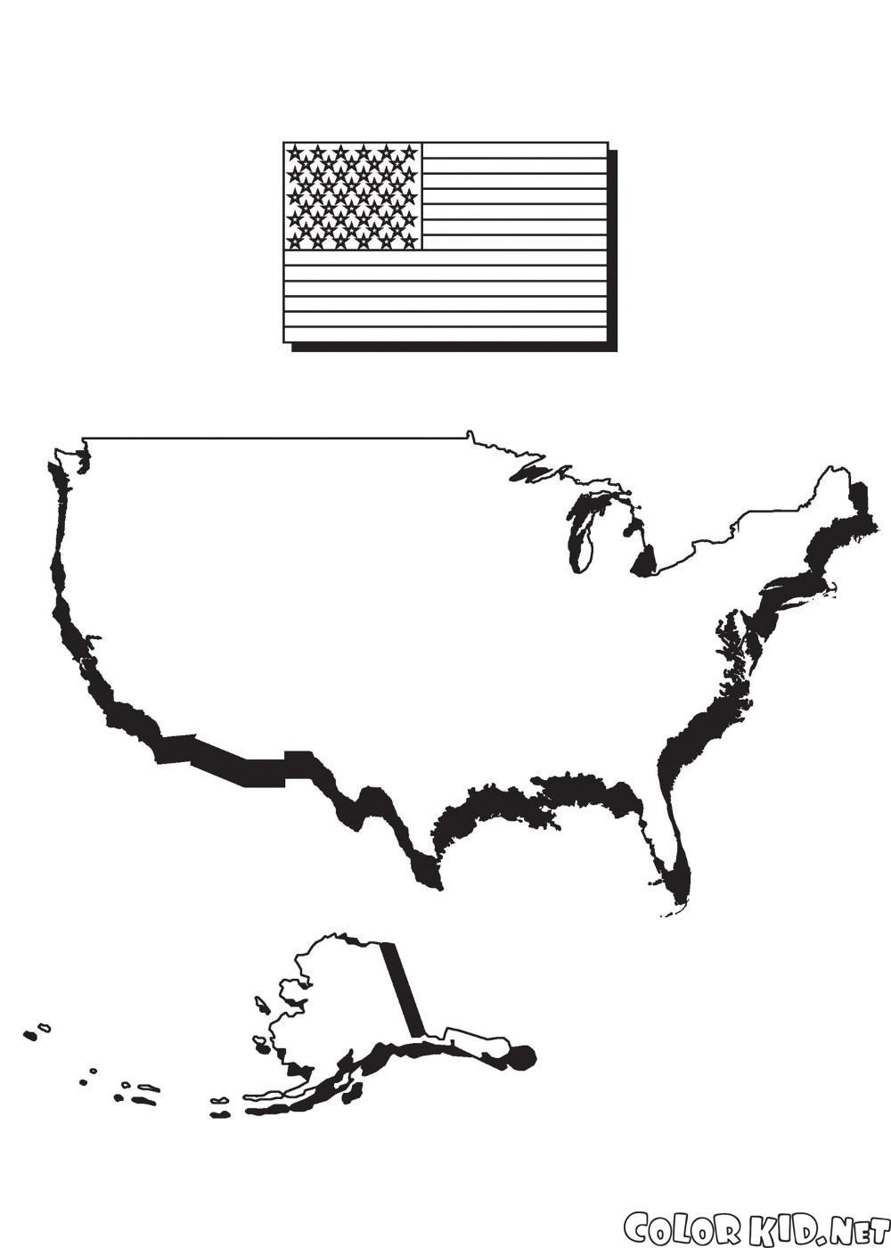 Boyama Sayfasi Amerika Ve Bayrak Haritasi