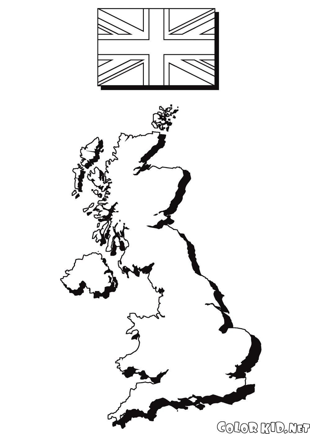 Harita ve İngiltere bayrağı